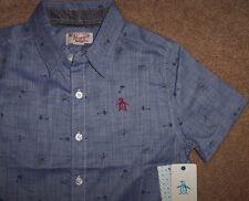 NWT Original PENGUIN $42 Chambray Blue Button Shirt PALM TREES Red Logo Boys XL