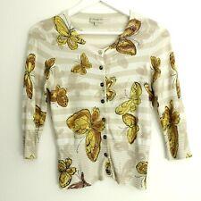 Karen Millen Beige Butterfly Animal Print Art Cardigan Button Knitted Size 6 UK