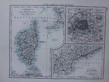 1901 Victorian carte Paris environs ~ CORSE ~ Riviera