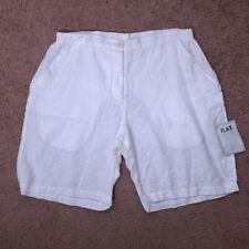 FLAX Women's White Linen Bermuda Shorts NWT M