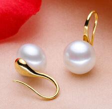 Gold Wedding Bride 925 Silver Pearl Dangle Ear Stud Earrings Party Jewelry Gift