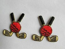 #5019 Lot 2Pcs Golden,Black Golf Clubs w/Ball Embroidery Iron On Applique Patch