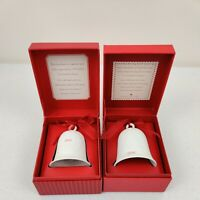 Christmas Ornaments Hallmark White Porcelain Bells (2)-Dated 2007 & 2008 W/boxes