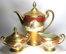 Victoria China Czechoslovakia Bohemia Gilded 24k Gold 1930's Tea Set Hand Paint