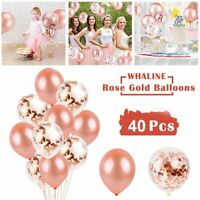 "40PCS 12"" Confetti Latex Balloons Rose Gold Wedding Birthday Party Decoration US"