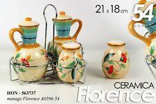 SET 5 PEZZI MENAGE CERAMICA FLORENCE OLIO/ACETO/SALE/PEPE 21*18 CM HON-563737