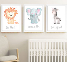 Safari Jungle Animals Nursery Prints Set Of 3 Baby Room Pictures Wall Art Decor