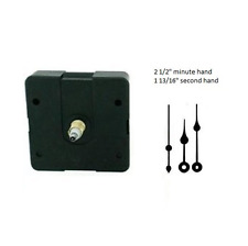 "Clock Movement Mechanism Quartex with 2 1/2"""" Black Spade Hands Long Shaft"