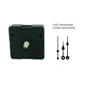 "Clock Movement Mechanism Quartz kit 2 1/2"" Black Spade Hands for 1/4"" thick dial"