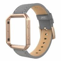 Simpeak For Fitbit Blaze Band With Frame,Genuine Leather Wristband For Fit bit
