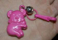 VTG 80's Pink Koala Bear Clip On Charm with Bell Plastic Charms Necklace 1980's