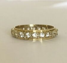 Ladies Vintage 9ct Yellow Gold & Silver - White Spinel Stone Eternity Band Ring