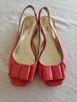 AK Anne Klein iflex Women's Coral Snakeskin Peep Toe Sling Back Heels Size 6.5 M