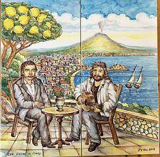 Pannello Decorato A Mano 40x40 Paesaggio Napoli Con Pino Daniele E Troisi Vietri
