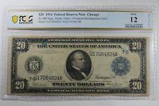 1914 $20 Pcgs F12 Large Size Error Note Overprint Misalignment Error Fed Reserve