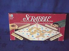 1989 MB GAMES SCRABBLE CROSSWORD GAME WITH WOODEN LETTERS AND RACKS