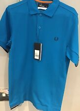 "*Fred Perry: Insert Rib Polo Shirt ( XS 36"" ) Process Bright Blue (SALE)"