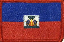 HAITI Flag Patch with VELCRO® brand fastener Military Tactical Red Border #2