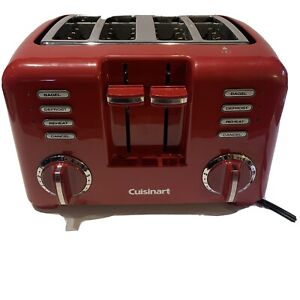 Cuisinart 4 Slice Toaster Red Chrome RBT-57  Wide Slots Defrost Reheat Works