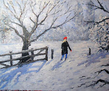 original oil painting:snowscape with red hat