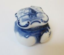 Vintage Delft Porcelain Stamp Box Boating Scene