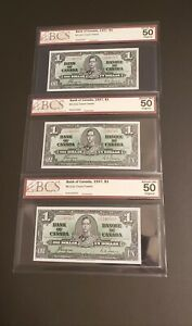 Three of 1937 Canada $1 Banknotes. THREE CONSECUTIVE. BCS Verified.