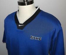 Men's Vintage Nike Jersey Performance Shirt Blue Spellout V-Neck Swoosh