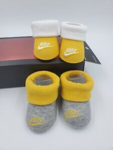 2 Pair Nike Baby Booties, Size 0-6 Months, Yellow, Gray, Shower Gift, B27