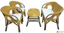 Set completo salotto in vimini bambù Mandolino rattan e giunco naturale divano p
