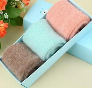 3Pairs Women 100% Pure Cashmere Wool Sock Winter Thick Warm Soft Socks