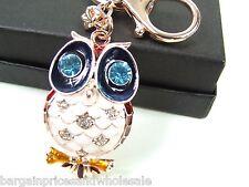Rose Gold Owl  Keyring Dangling Rhinestone Diamante Handbag Buckle Charm