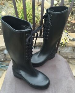 DKNY Donna Karan rain Boots Woman's Black Rubber Knee High Boots Size 5