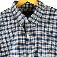 Ralph Lauren Mens Blue Plaid Button Down Oxford Shirt Big Tall Size XLT $98.50