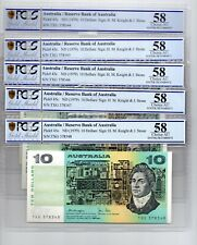 1979 AUSTRALIAN $10 NOTES  KNIGHT/STONE RUN OF 5 NOTES PCGS AU 58 TXG 378344-348