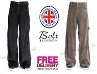 "Bleubolt 24"" Hem Skater Baggy Carpenter Cords Corduroy Trousers Pants Style 2277"