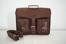 "Mens 16"" Vintage Leather Office Briefcase Laptop Satchel Messenger Crossbody Bag"