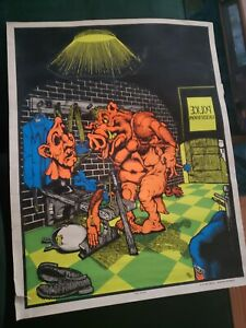 """""""Hippy Hurter"""" VINTAGE BLACKLIGHT poster 1970 RARE Hot Patch, Johnson Arkansas"""