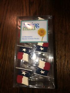 Texas Flag Shower Curtain Hooks Brand Spring maid 12 Hooks New in Package