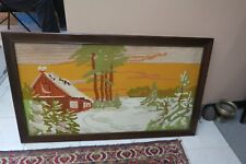 "Vintage Hand Made Needlepoint Large Stitch 22"" x 41"" - 26"" x 45"" Framed"