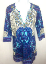 Joyous & Free Womens Paisley Embellished Dress Size Medium Blue Purple Stretch