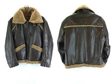 Vintage Cooper American Pilot Bomber Style Jacket Brown Leather Aviator Flight