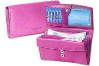 Rimbaldi® große Leder Damengeldbörse mit viel Platz und RFID Blocker in Lila