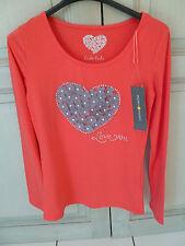 Neuf Taille 36 Cache Cache T-Shirt Manches Longues Orange Avec Coeur Fleurs Et P