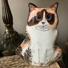 Cats By Nina Tabby Cat Vase with Blue Eyes, retired very collectible
