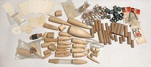 Vintage Lot Model Rocket Parts Nose Cones Balsa Wood Payload Couplers Lug No Res
