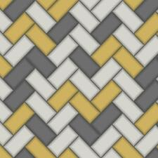 Wallpaper Holden Chevron Tile Glitter 3d Geometric Kitchen Bathroom Yellow 89300