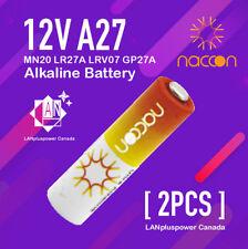 2x Naccon 12V A27 27A MN20 LR27A LRV07  GP27A  Alkaline Battery