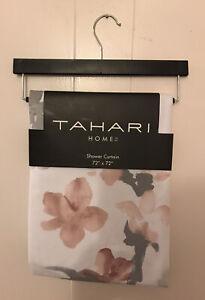 "Tahari Home Fabric Shower Curtain Printempts 2 White/Gray w/Blush Flowers72""x72"""