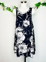 Entro Blue White Floral Sleeveless Shift Dress Lace Trim Women's Sz Large L