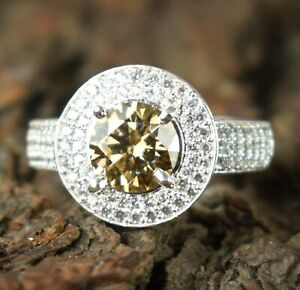 Great Brilliance 3.68 Ct Champagne Diamond Solitaire Men's Ring With Accents